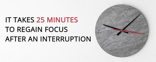 It takes 25 minutes to regain focus after an interruption